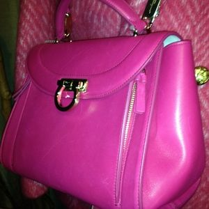 45f37412d3 Ferragamo Butter Soft Hot Pink Leather Satchel